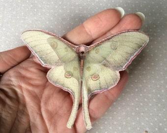 I Will Fly Away - Handmade Luna Moth (Actias Luna) Butterfly Brooch - Canvas and Silk Organza