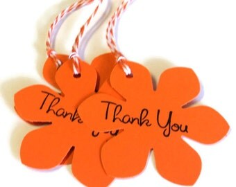 20 Tags, Gift Tags, Thank You, Merchandise, Hang, Orange, Funky Flowers