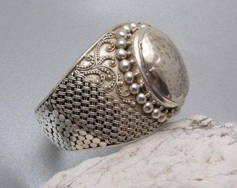 Wide Sterling Cuff Bracelet Granulation Large Size Heavy Bold Jewelry B7280