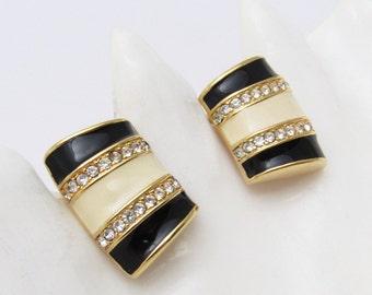 Swarovski Crystal Earrings Rhinestone Black White Jewelry E7192