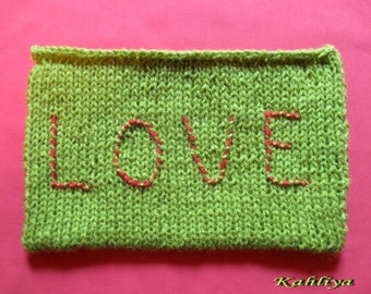 Green Hand Knitted,Vegan friendly,Fun, Love Pouch,Purse,Clutch