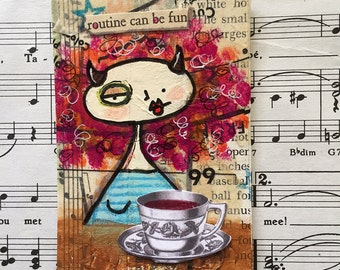 Original mixed media found poetry ACEO / ATC morning routine