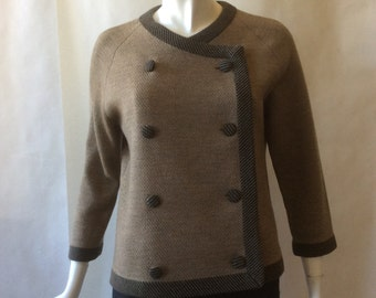 1950's / early 1960's Italian designer knit jacket, Marchesa di Gresy, light variegated gray-brown with black striped binding, XL / 14 - 16
