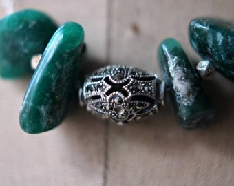 October Sale Emerald Green Necklace, Marcasite Necklace, Green Verdite Necklace, Sterling Silver, Vintage Marcasite, Boho, Under 75