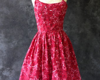 1950's Pink and red floral print sundress
