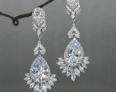 Long Wedding Earrings Chandelier Bridal Earrings Crystal Drop Earrings cubic Zirconia Wedding Jewelry Rhinestone Chandelier Earrings