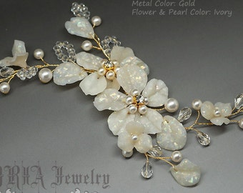 Floral Bridal Hair Comb, Gold Silver Wedding Hair Accessories, Hair Flowers, Pearls Crystals Rhinestone Headpiece Hair Jewelry, Hair vine