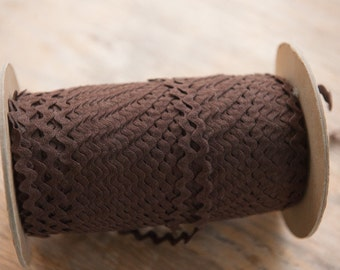 "3 yards 3/8"" Dark Brown - Vintage Fabric Trim Juvenile 70s New Old Stock Cotton"