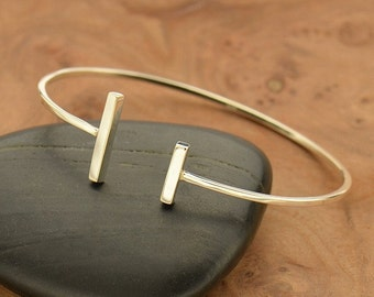 NEW - Sterling Silver Parallel Bar Cuff Bracelet - Solid 925 - Insurance Included