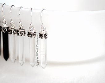 Icicles Earrings - Natural Clear Quartz Gemstone Sterling Silver Hand-Cut Points Auspicious Feng Shui Symbol - Free Domestic Shipping
