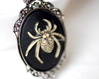Araneae Gothic Necklace - Ivory Black Spider Cameo -  2 Setting Colors - Insurance Included