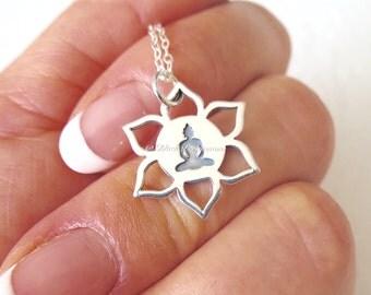 Meditation Shakyamuni Buddha on Lotus Necklace - Solid 925 Sterling Silver Renge Feng Shui Lian Hua Charm - Insurance Included