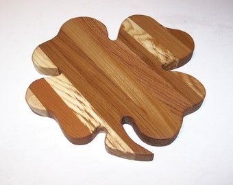 4 Leaf Clover Cheese Cutting Board Hand Crafted from Mixed Hardwoods