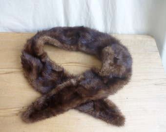 Vintage Chocolate Brown Mink Collar, Genuine Fur, Vintage fur collar