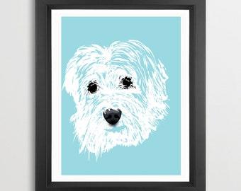 Tibetan Terrier Dog Art  - Fine art print, Tibetan Terrier dog, silhouette, illustration , Gift Ideas