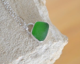 Green Sea Glass Necklace Adriatic Coast