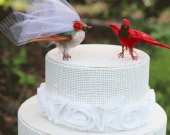 Cardinal Wedding Cake Topper: Flying Bride & Groom Love Bird Cake Topper -- LoveNesting Cake Toppers
