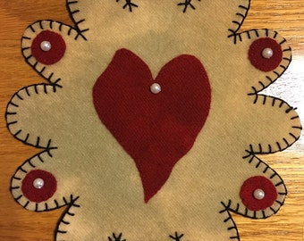 Heart and Pearls Penny Rug