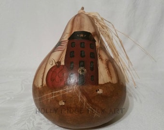 Handpainted gourd, Pumpkin, Saltbox, Willow, Sheep , Terrye French design