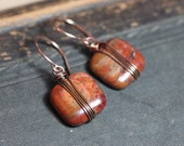 Picasso Jasper Earrings Copper Wire Wrapped Rose Gold Orange Red Fall Color Gemstone Earrings Rustic Jewelry