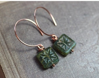 On Sale Picasso Czech Glass Earrings Rustic Copper Hoop Green Earrings Rustic Jewelry