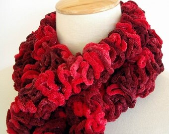 Red Chenille Ruffle Fashion Scarf Knit Crochet Burgundy Red Cardinal Christmas Valentine Red