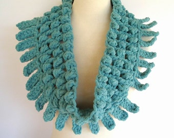 Dusty Aqua Turquoise Cowl Neck Warmer Infinity Scarf Chunky Novelty Soft Winter Fashion Bulky Yarn