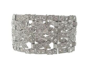 Art Deco Bracelet, Wide Vintage Rhinestone Cuff, 1920 Original Antique Art Deco Jewelry, Statement Wedding Jewelry