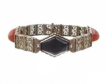 Walter Lampl Art Deco Vintage Bracelet, Fine Sterling Filigree Onyx Link, 1920s Antique Art Deco Jewelry