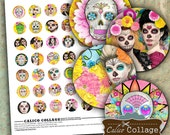 Day of the Dead 1 inch Circle Digital Collage Sheet for Cabochons, Pendants, Bottle Cap Jewelry, Wood Circles, Decoupage, Digital Collage