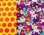 Unicorn and matching dots fabric knit duo