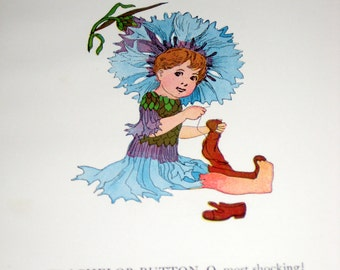 4 Beautiful Illustrations from Antique (1910) Children's Book - Flower Children  by Elizabeth Gordon -Perfect for Framing