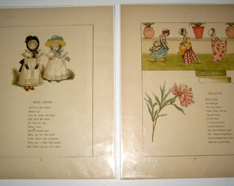 2 Beautiful Illustrations by Kate Greenaway from Antique Children's Book