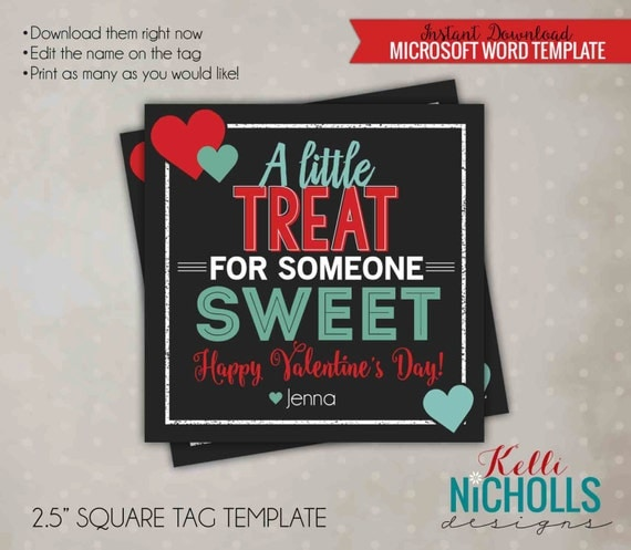 Printable Valentine's Treat Tag Template, Chalkboard, Digital, Sweet Party Favor Card, Mint and Red - Instant Download