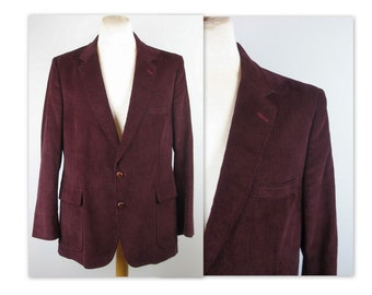 Vintage 70s Mens Corduroy Jacket 46 L blazer in a mulberry wine color