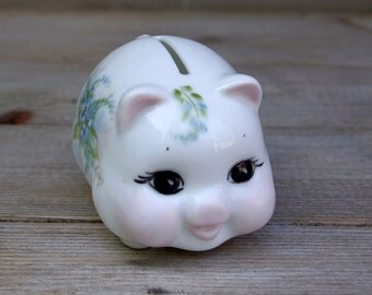 Porcelain Piggy Bank Hand Painted Artist Signed