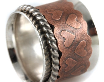 Sterling Silver Band Spinner Ring with Copper Heart and Sterling Twisted Wire Rings
