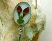 Bangle Bracelet with Real Rose Bud - red, silver, bangles, dos, love, two, ooak, gypsy soul, hippie chic, jewellery, dried flowers flower