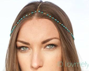 HALEY - Turquoise head chain / headpiece / headchain