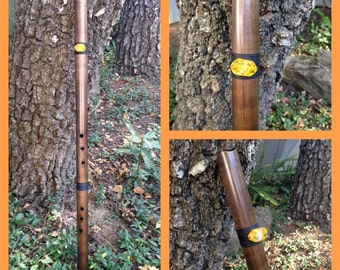 Anasazi Style Flute in A, Darkened Western Red Cedar with Amber