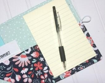 SUMMER SALE - Mini Shopper - Notepad holder List taker - Bird Garden