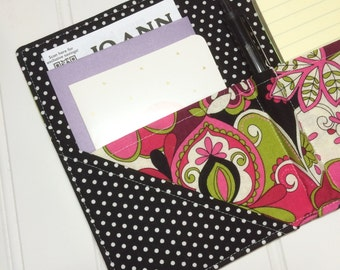 Mini Shopper - Notepad holder List taker - Pink Party paisley