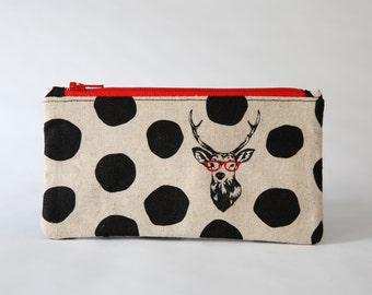 Deer Zipper Pouch, Japanese Echino Fabric, Glasses Case, Card Wallet, Cosmetic Bag, Gadget Case, Phone Case, Coin Purse, Ready to ship, Gift
