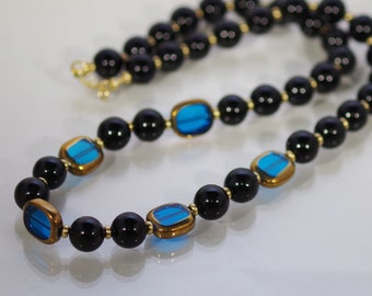 Gemstone and Crystal Jewelry - Black Agate and Crystal Necklace