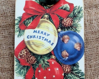 Retro Merry Christmas Bulb Gift or Scrapbook Tags or Magnet  #311