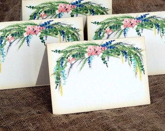 Wedding Place Cards Watercolor Floral Tent Style Place Cards or Table Place Cards #16