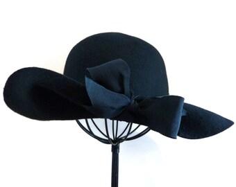 Women's Wide Brim Hat, Wool Swinger Hat, Vintage 1980's Floppy Brim, Upcycled Hat in Black