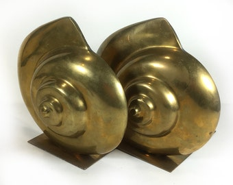 Vintage Brass Shell Bookends - Great Patina, Solid, Heavy