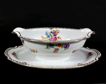 """Vintage Noritake Gravy Boat, """"Dresdoll"""" Pattern #4716, Floral Rims and Center, Gold Scroll Edge,  Attached Underplate"""