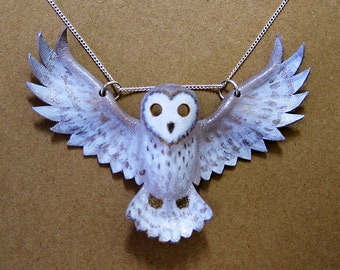 Leather Barn Owl pendant statement necklace, hand-painted in brown, bronze, cream, and white, wings, feather